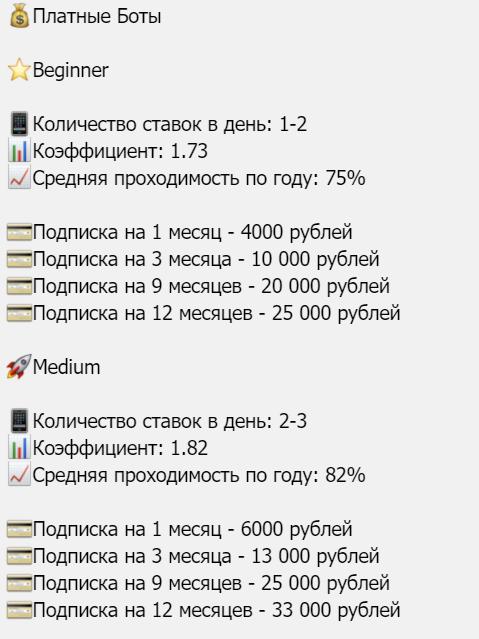Цены на покупку подписки у бота Main Line
