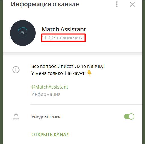 Match Assistant Телеграмм канал